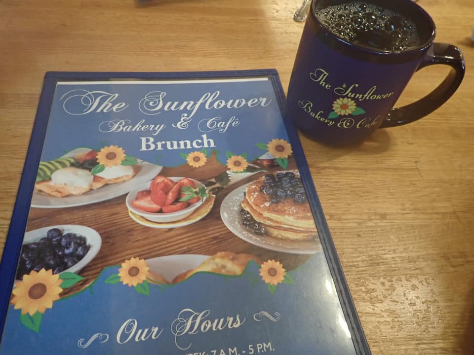 """Menu and coffee from The Sunflower Bakery and Cafe in Galveston.   Adult Weekend in Galveston, Texas; on """"The Strand"""""""