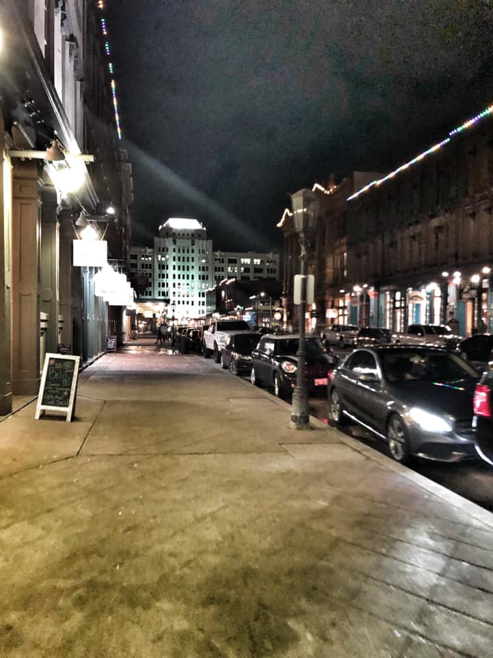 """The Strand area at night in Galveston.   Adult Weekend in Galveston, Texas; on """"The Strand"""""""