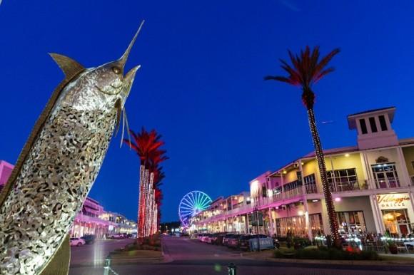 The Wharf shopping center at night.   Guide to Gulf Shores & Orange Beach Alabama