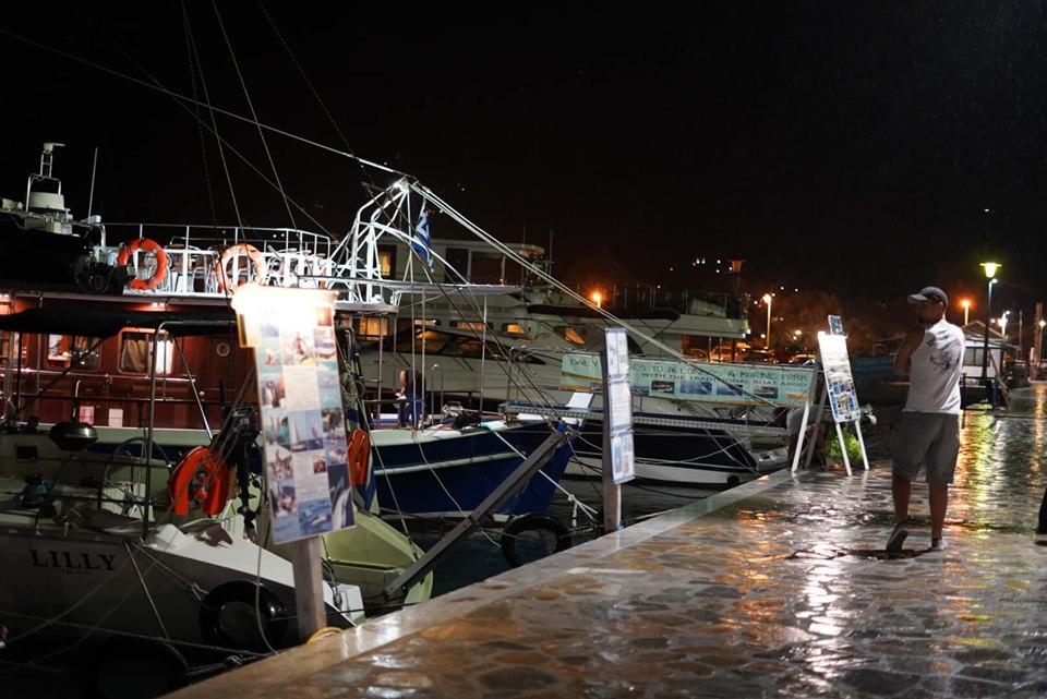 Nightime tour boats at Amarandos Cape. | Skopelos Island, Greece- Mamma Mia Island