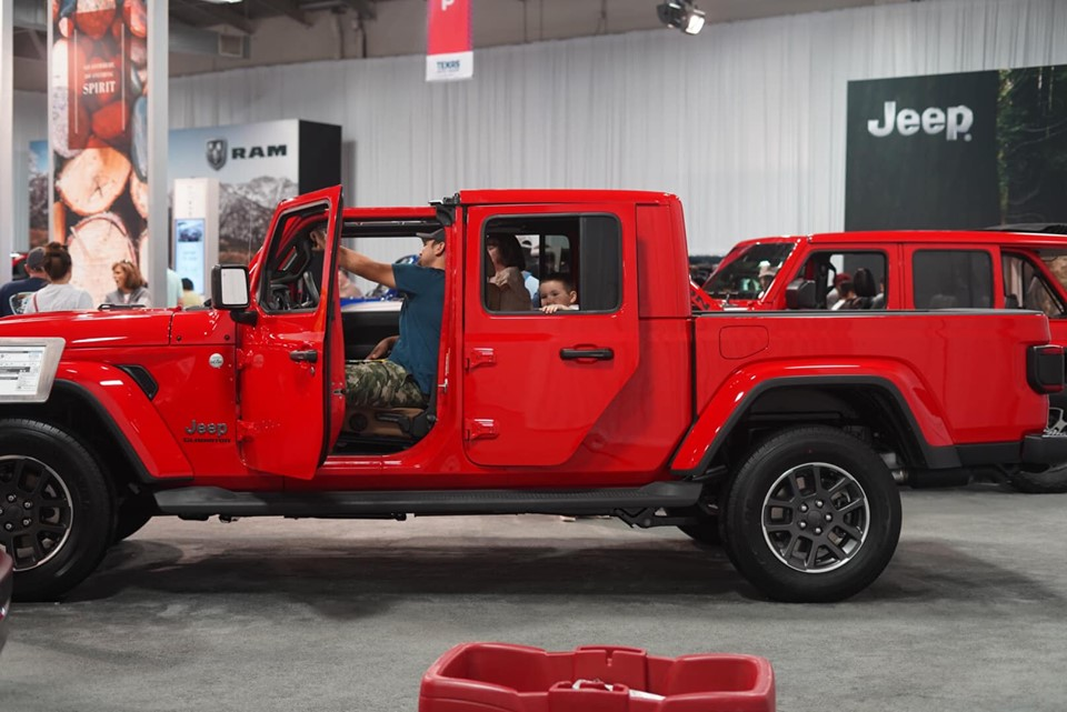 Red Jeep truck in the Auto show section at the fair. | State Fair of Texas-Dallas