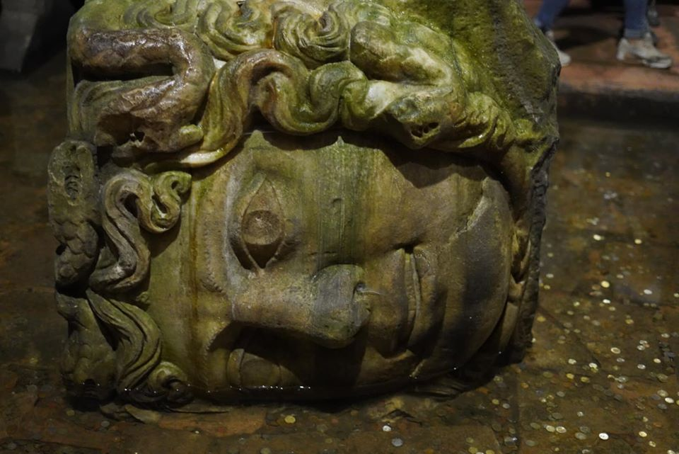 Statue in Basilica Cistern. | Istanbul, Turkey