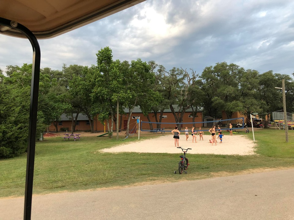 People playing in the park at Jellystone in Texas.   Jellystone Park in Waller, Texas
