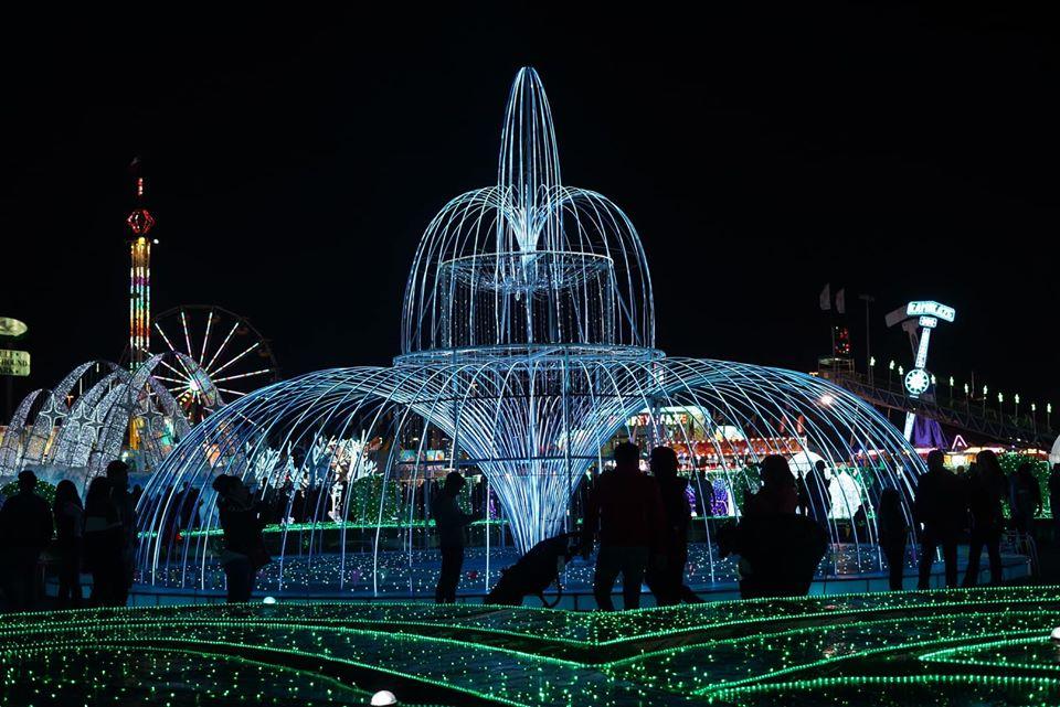Waterfall display at night at The Magical Winter Lights display in Houston. | Magical Winter Lights Houston