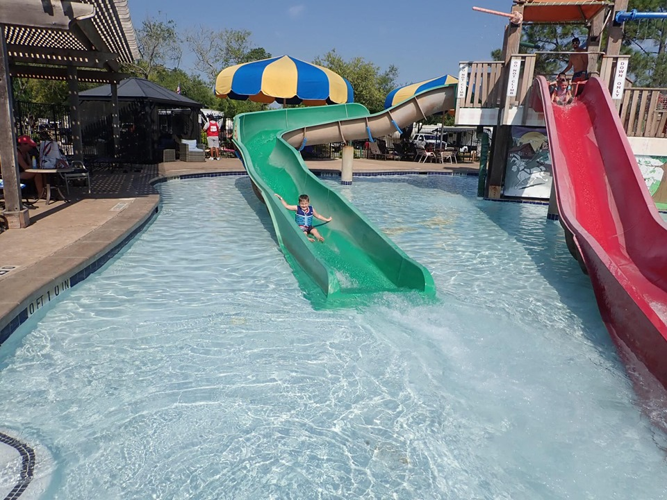 Waterslides at the waterpark at Jellystone in Texas.   Jellystone Park in Waller, Texas