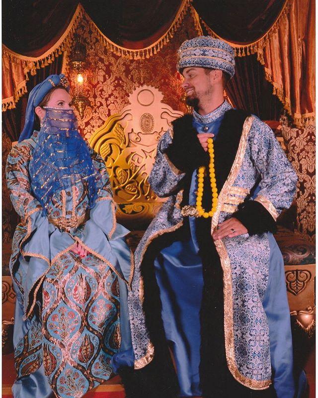 Couple dressing up like the Turkish royals underground in Basilica Cistern.   Istanbul, Turkey
