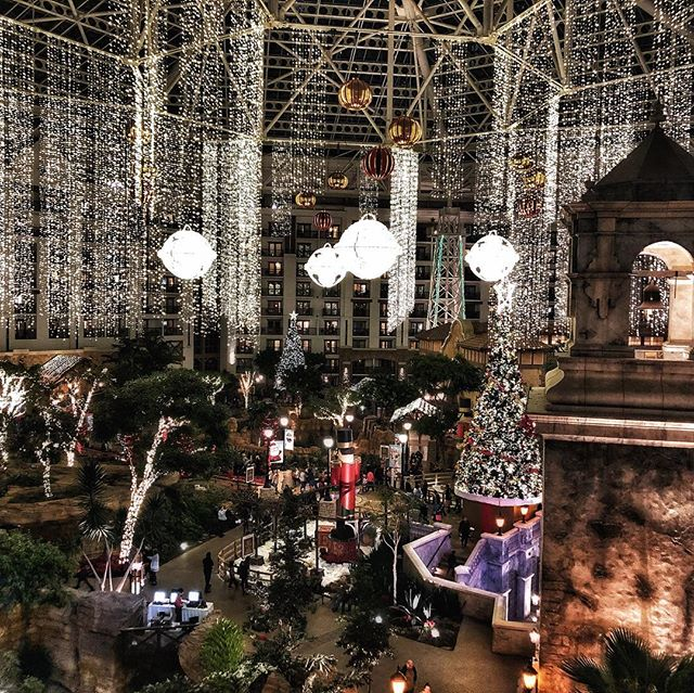 View of the Gaylord Texan at night decorated for Christmas in Texas. | Christmas at the Gaylord Texan Hotel