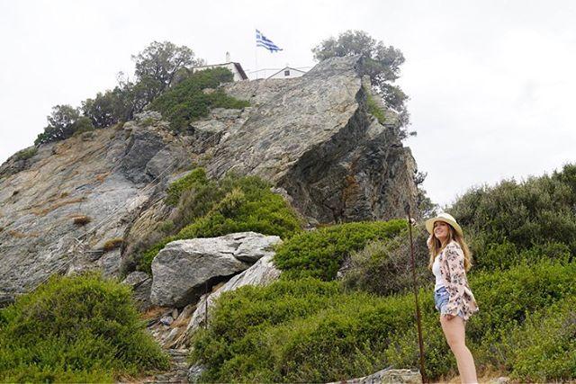 Woman posing on rocks on Skopelos Island. | Skopelos Island, Greece- Mamma Mia Island