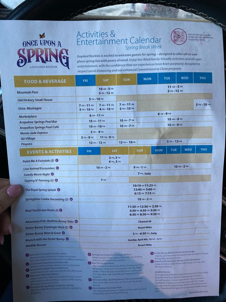 Activities and Entertainment Calendar and schedule for Once upon A Spring at Gaylord Rockies.| Best Places to Visit in Colorado