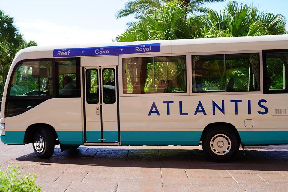Atlantis shuttle bus outside at the Atlantis resort.   Atlantis, Bahamas