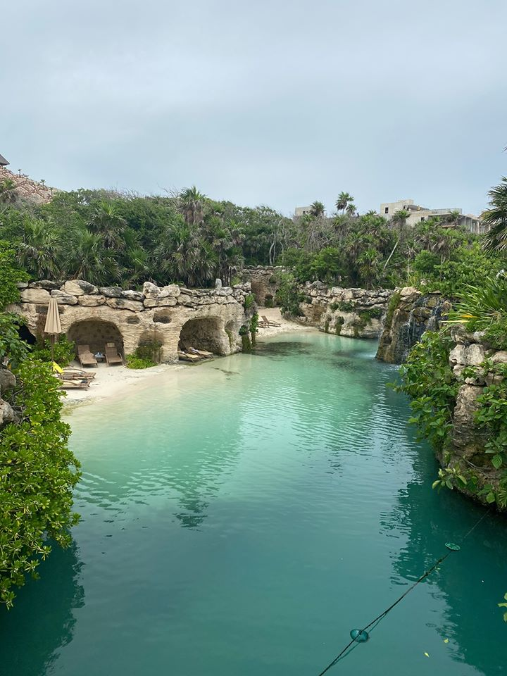 View on the beach from on top of a hill.  Guide to Hotel Xcaret in Mexico