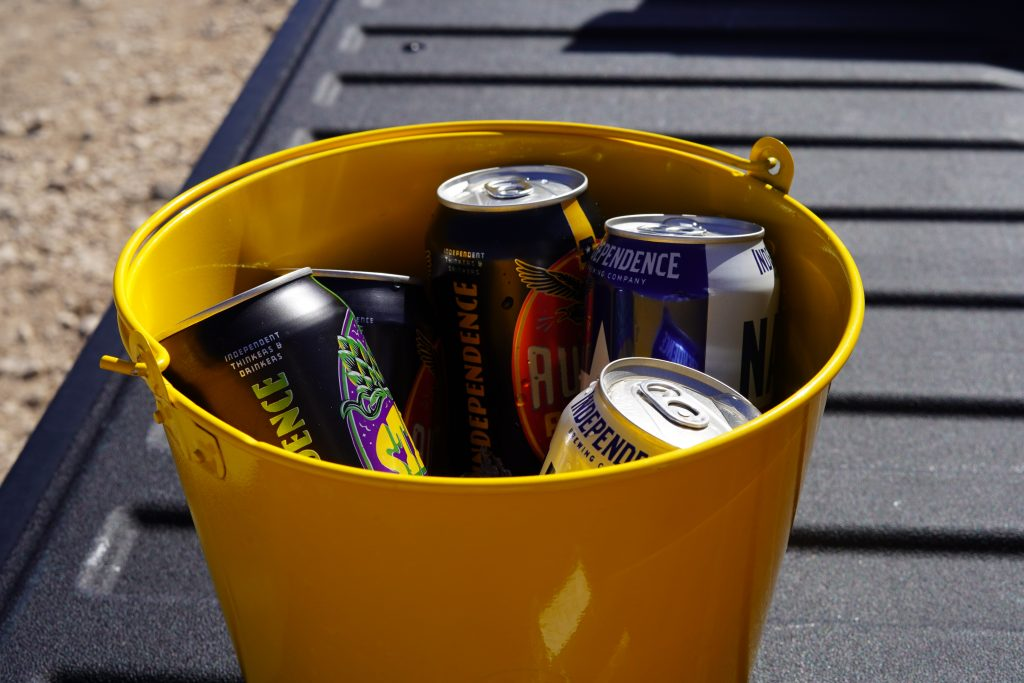Beer in a bucket at El Cosmico in Marfa. | Marfa, Texas- Where to Stay, What to do, & What to Eat