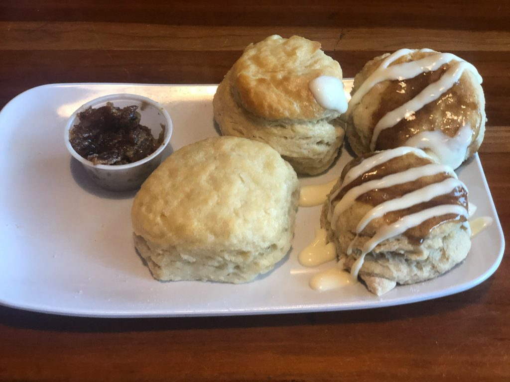 Plate of biscuits from Ruby Slippers Cafe in Gulf Shores.  Guide to Gulf Shores & Orange Beach Alabama