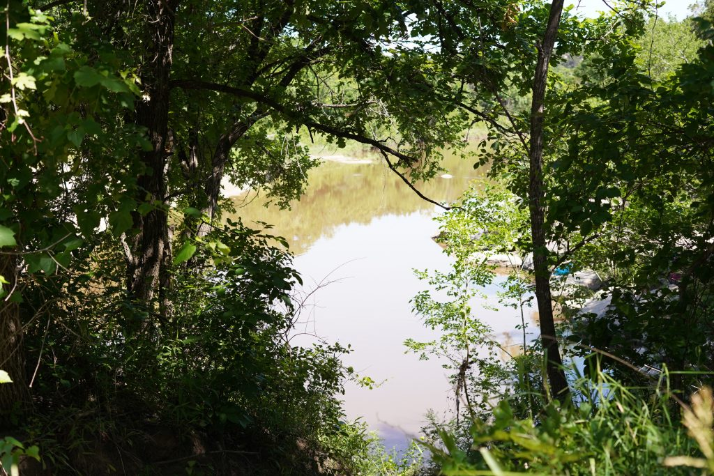 Blue Hole swimming hole view.   Dinosaur Valley State Park in Texas
