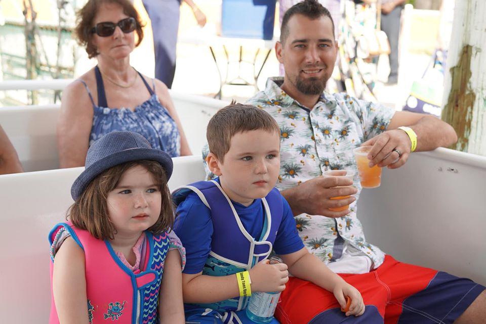 Family on a boat ride at the Atlantis resort.   Atlantis, Bahamas