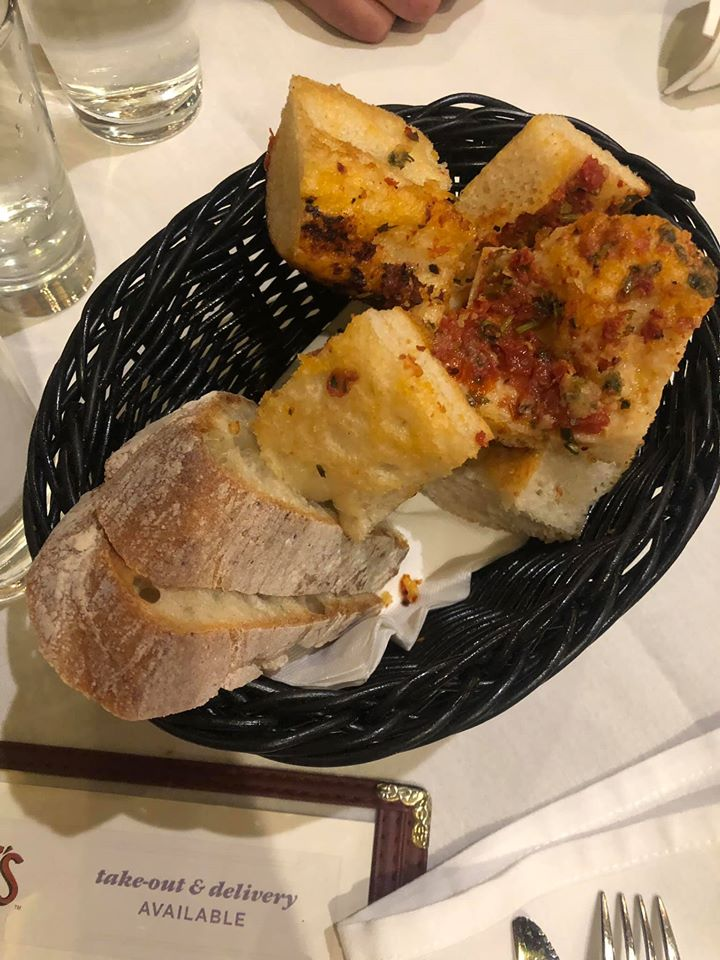 Basket of bread from Carmines in New York.   New York City