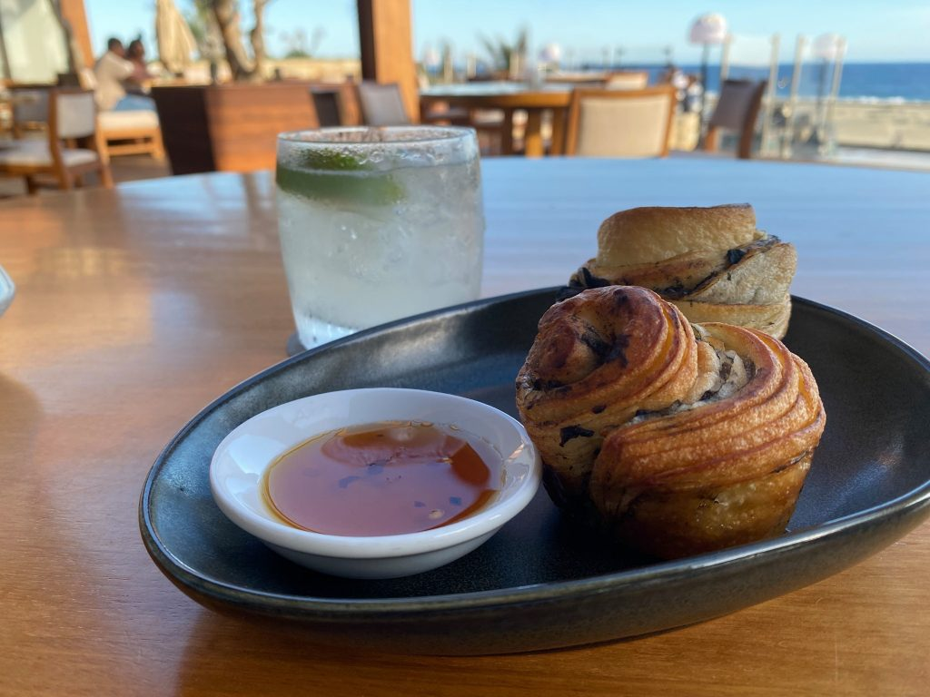 Plate of muffins and sauce at bread Nobu. | A Guide to Nobu Hotel Los Cabos - A Relaxing Girls Trip