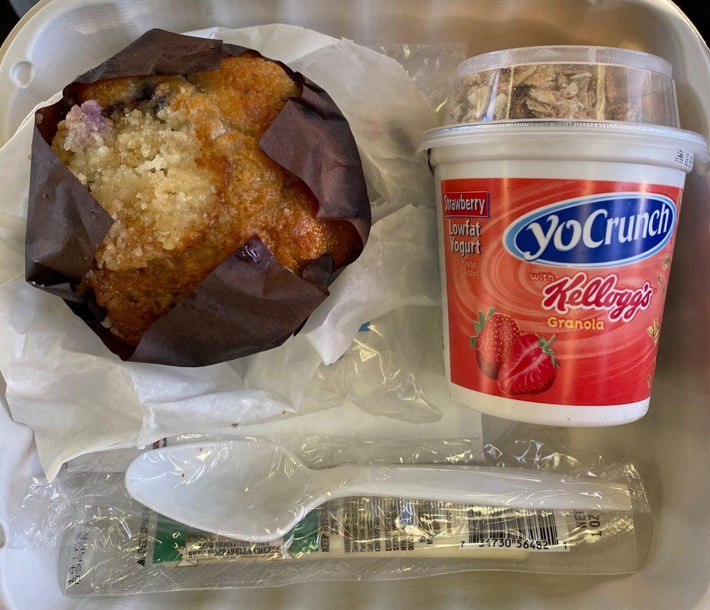 Blueberry muffin and yogurt for breakfast. | Grand Canyon Railway in Arizona