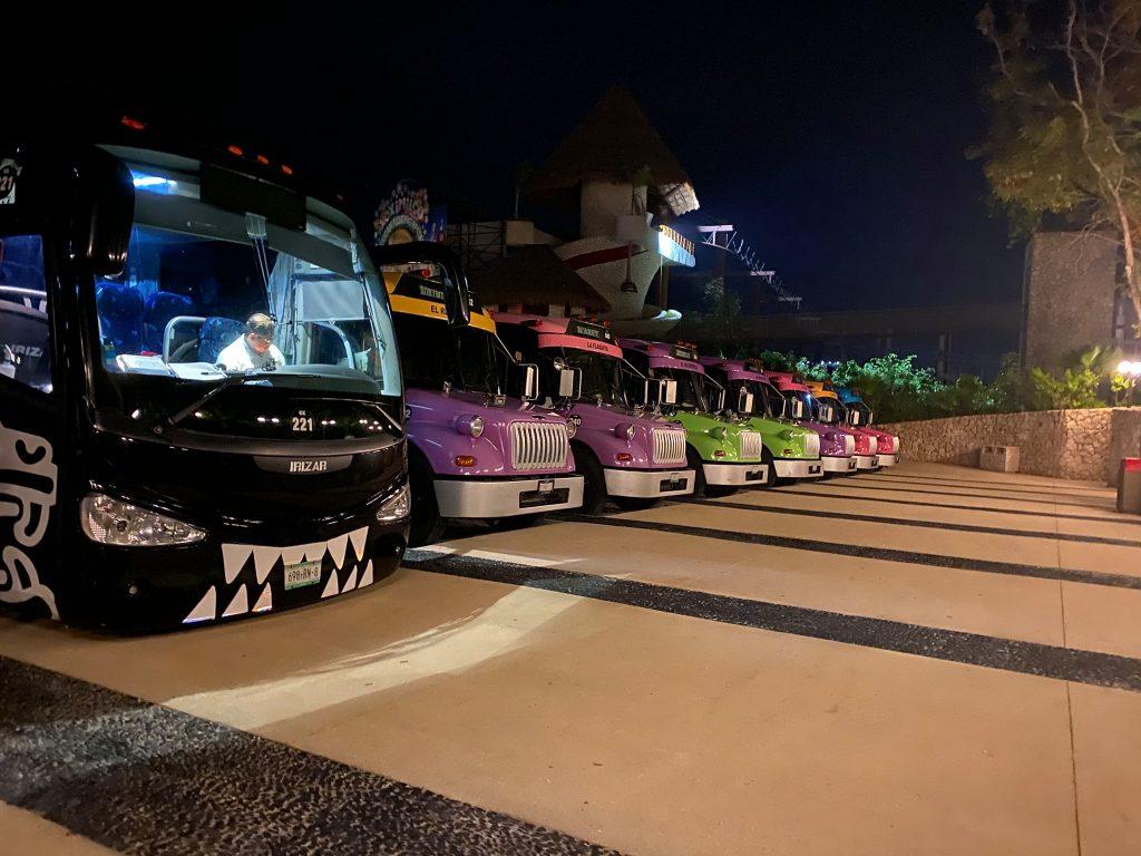 Colorful buses at Viva Chiapas in Mexico Park. | XOXIMILCO Cancun, Mexico
