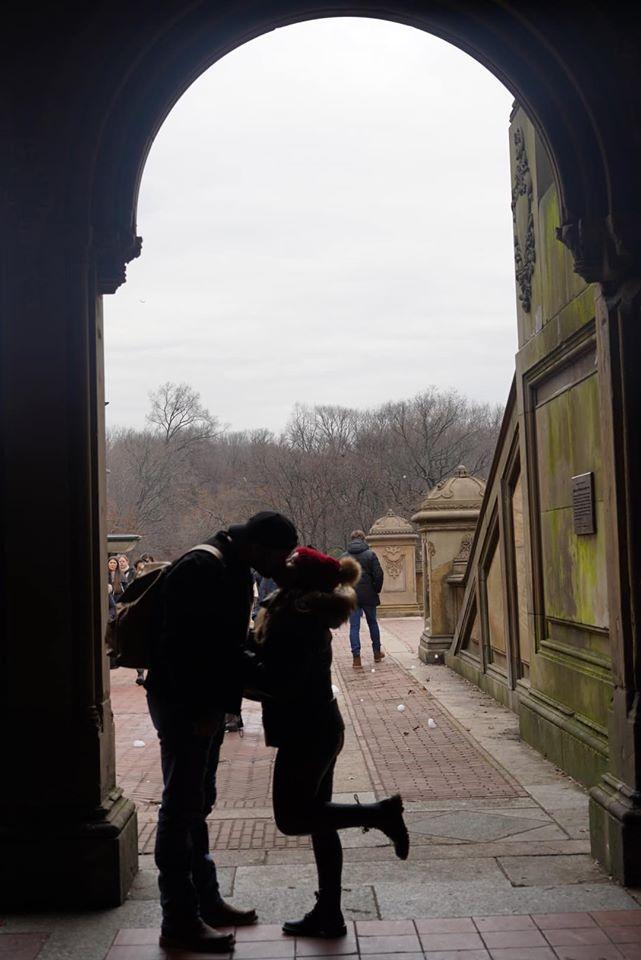 Couple kissing reenacting Chuck and Blair Wedding from Gossip Girl at Bethesda Fountain.   New York City