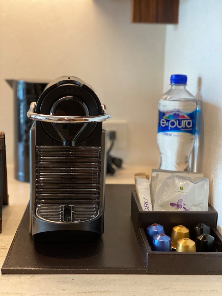 Instant coffee machine on table in hotel. | A Guide to Nobu Hotel Los Cabos - A Relaxing Girls Trip