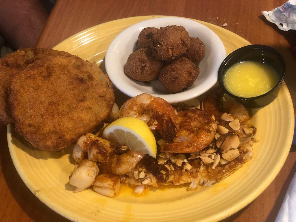 Plate of food at De Soto Gulf Shores.  Guide to Gulf Shores & Orange Beach Alabama