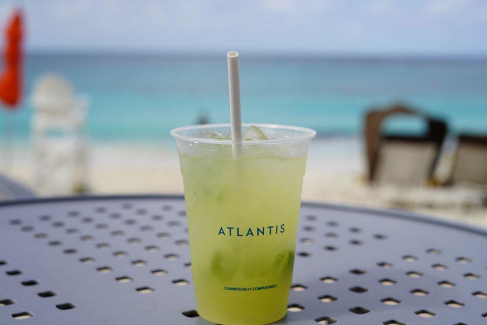 Mojito Margarita on a table at the reef pool at the Atlantis resort.   Atlantis, Bahamas