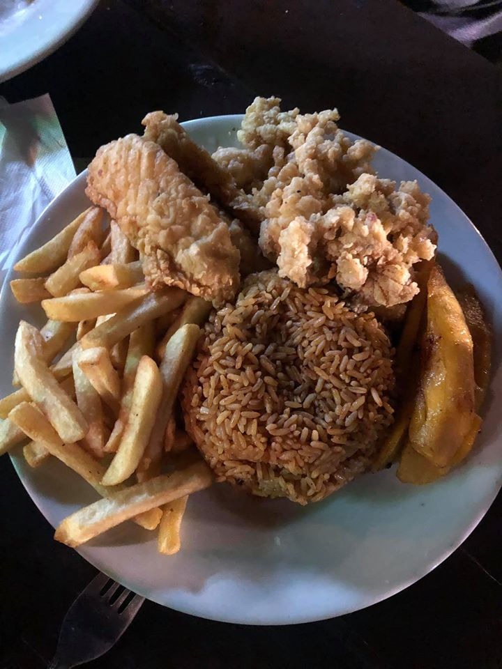Platter of food at Fish Fry in Downtown Nassau.   Atlantis, Bahamas