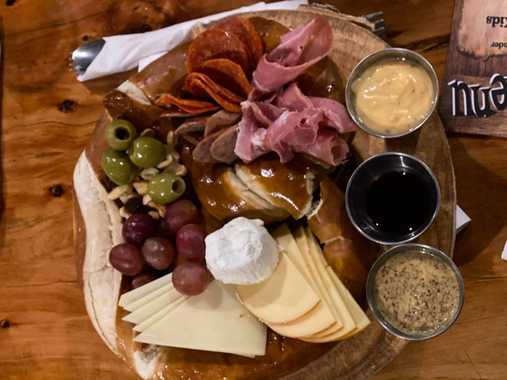 Meat and bread and cheese platter with dipping sauces. | Williams, Arizona on Route 66 with Kids