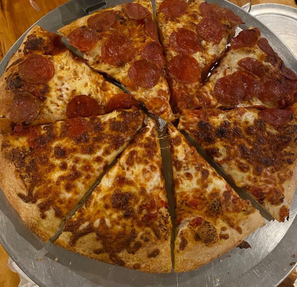 Large pepperoni and cheese pizza. | Williams, Arizona on Route 66 with Kids
