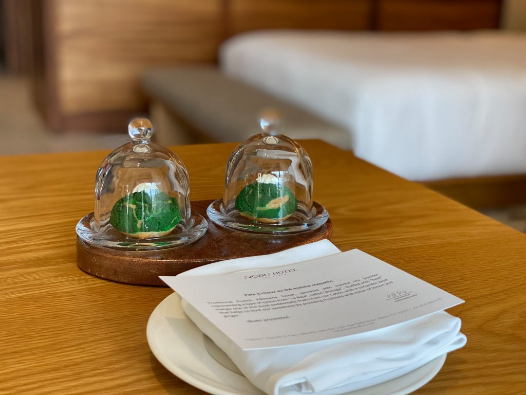 Greeting package at the hotel including mints and a note. | A Guide to Nobu Hotel Los Cabos - A Relaxing Girls Trip