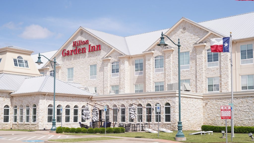 Outside view of the Hilton Garden Inn at the charming Historic Granbury Square.  A Guide to Granbury, Texas
