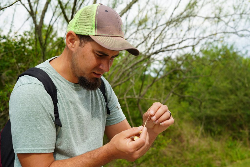 Man opening a honeysuckle on a path at the nature park in League City. | 6 Things for Families to do at a Nature and Wildlife Park
