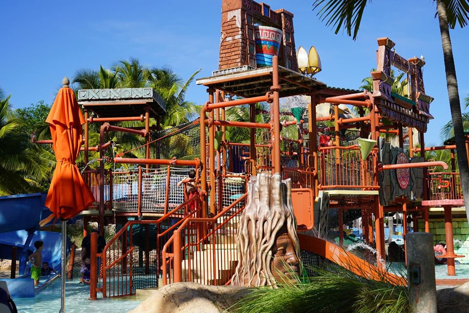 Kids playing in the play area of the waterpark at the Atlantis resort.   Atlantis, Bahamas