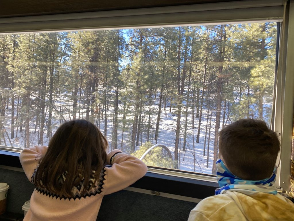 Two kids looking out the train window at the snowy woods. | Grand Canyon Railway in Arizona