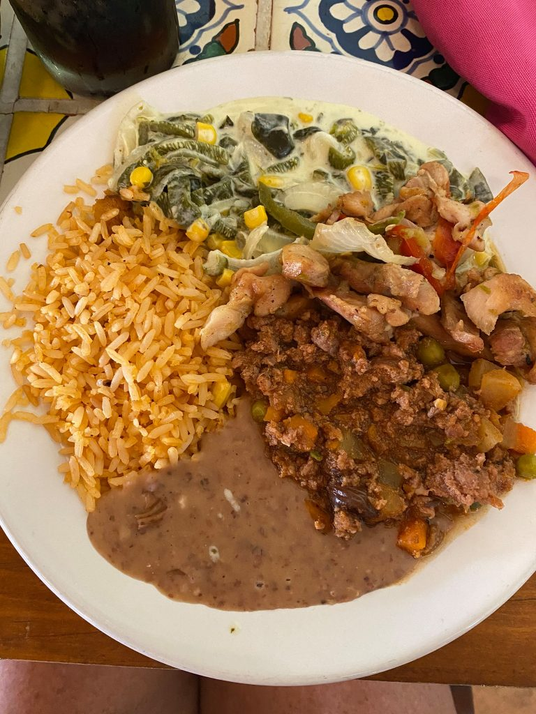 Plate of lunch food at a restaurant. | All About XeI-Ha Park in Riviera Maya