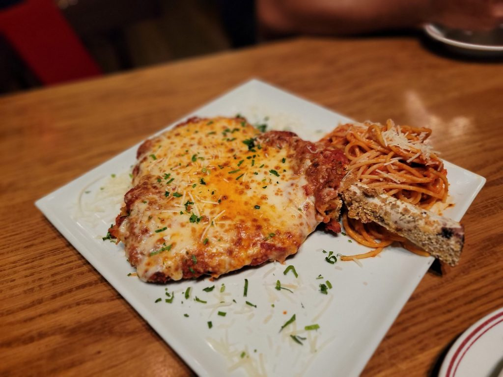 Plate of the Boss XL Veal Parm Chops.   Where to eat in Las Vegas