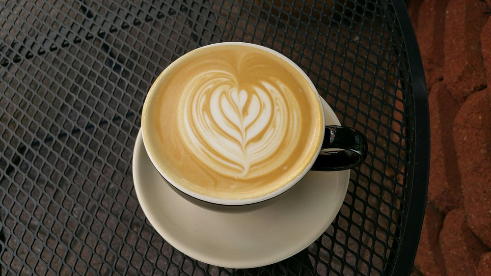 """Latte art from Mod Coffee House in Galveston.   Adult Weekend in Galveston, Texas; on """"The Strand"""""""