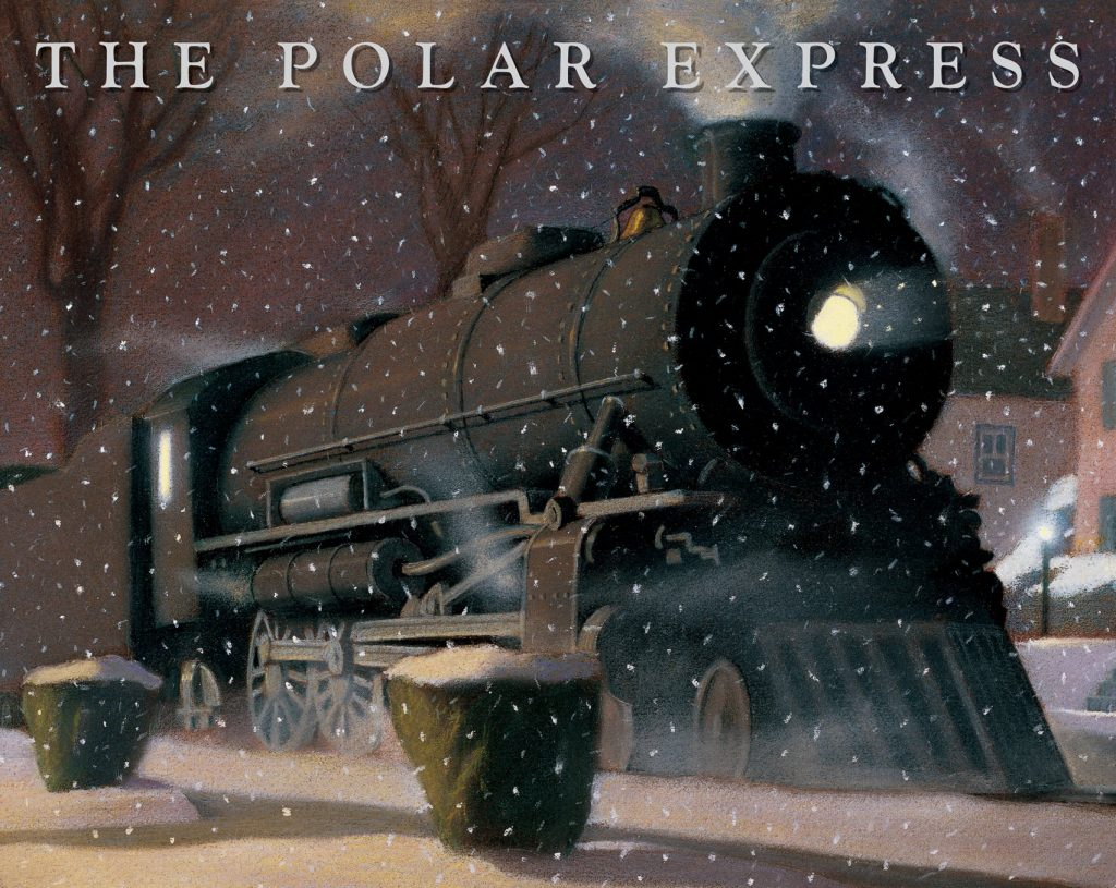 The Polar Express book cover with a train in the night while it's snowing. | The Polar Express Train Ride in Palestine, Texas
