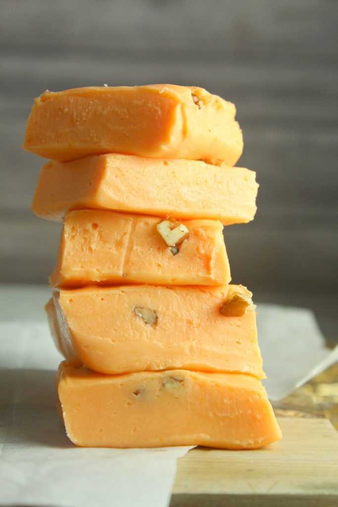 Pumpkin fudge stacked tall at Six Flags.   Guide to Six Flags over Texas Hallowfest