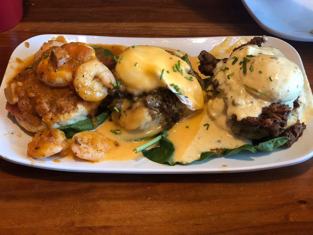 Plate of food from Ruby Slippers Cafe in Gulf Shores.  Guide to Gulf Shores & Orange Beach Alabama