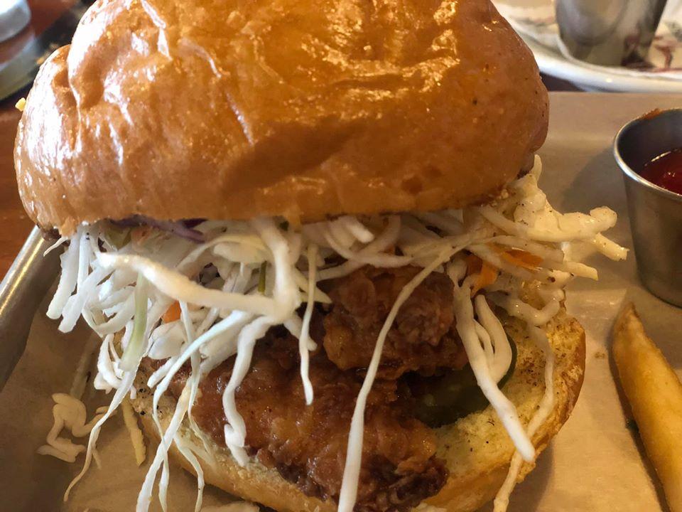 Plate with a sandwich at Salt Grass Steakhouse restaurant in Kemah. | Kemah Boardwalk in Texas