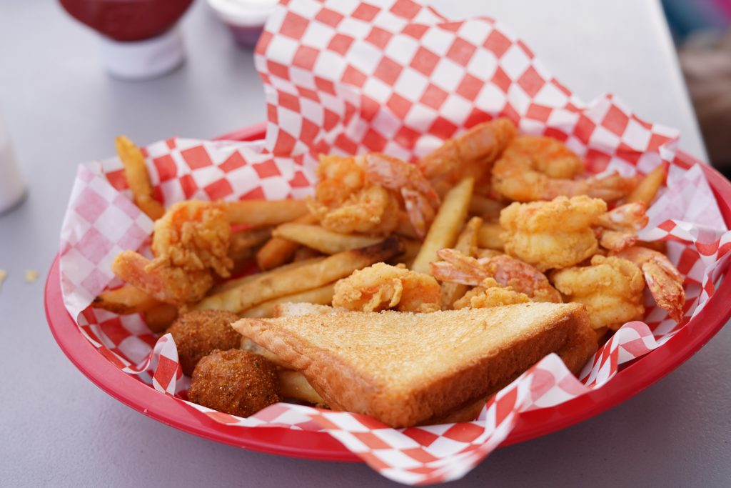 Platter of shrimp and fries at Stumpy's Lakeside Grill restaurant.   A Guide to Granbury, Texas