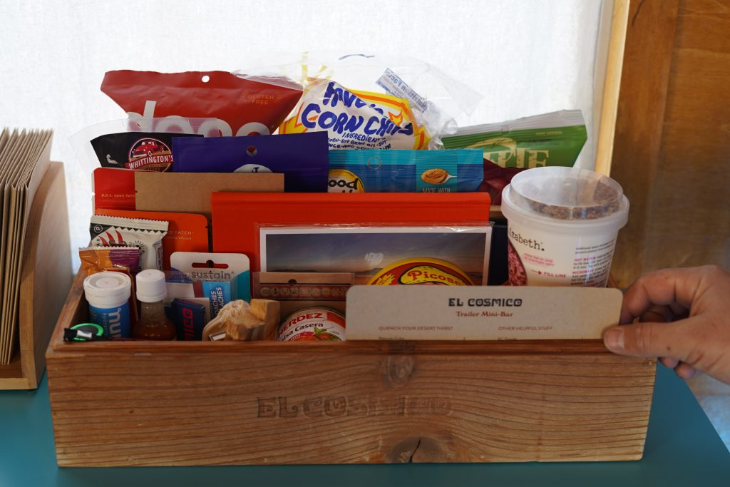 Box of snacks at El Cosmico in Marfa. | Marfa, Texas- Where to Stay, What to do, & What to Eat