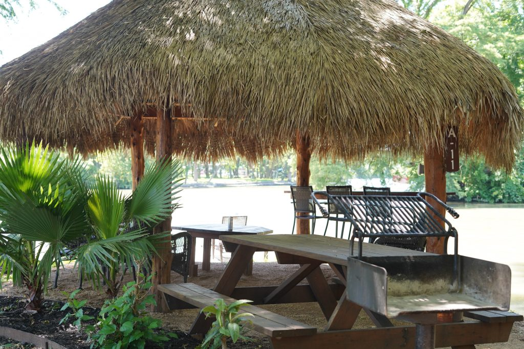 Outdoor cabana by the water at Son's Island.| Son's Island in Seguin, Texas