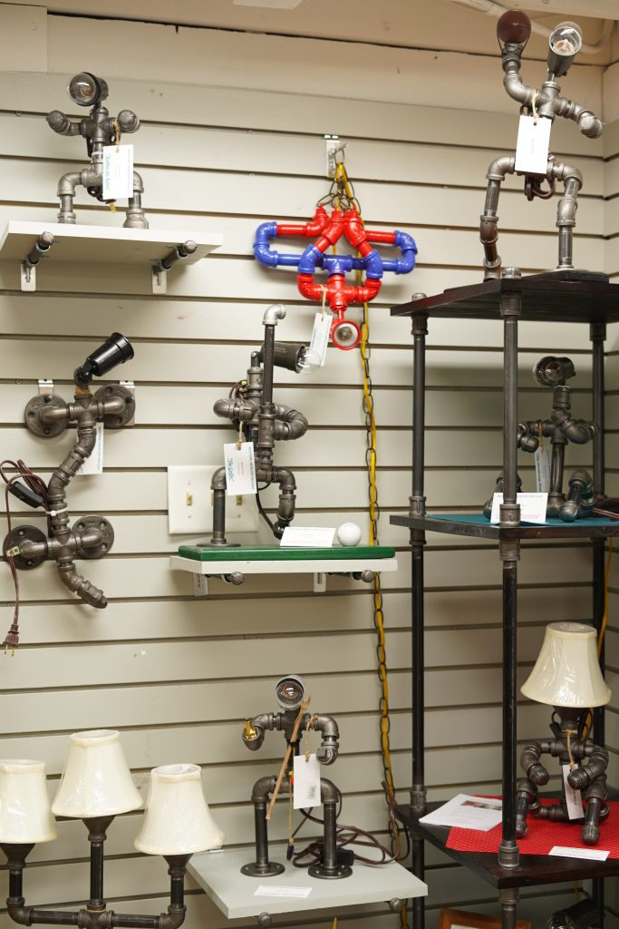 Square lamps inside the Wagon Yard store.   A Guide to Granbury, Texas