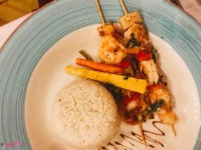 Plate of food from seafood restaurant at the Sunscape Splash Resort in Montego Bay.| Montego Bay, Jamaica; Sunscape Splash Resort