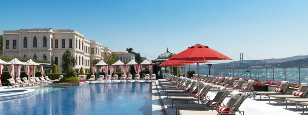 View of the pool at the Four Seasons Hotel Istanbul at the Bosphorus.| Istanbul, Turkey