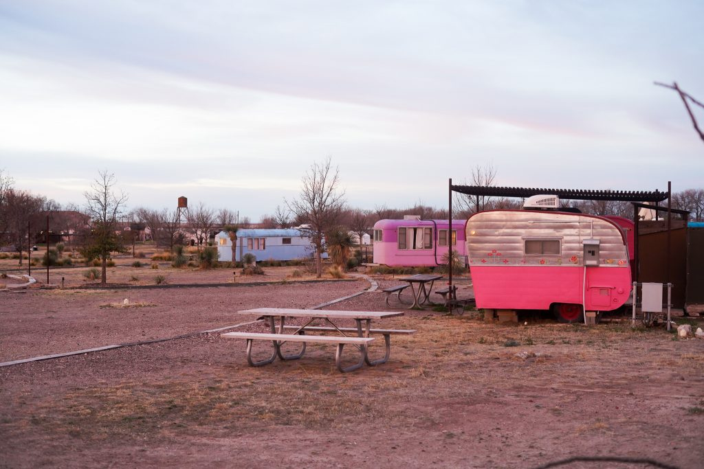 El Cosmico colorful trailers with in Marfa. | Marfa, Texas- Where to Stay, What to do, & What to Eat