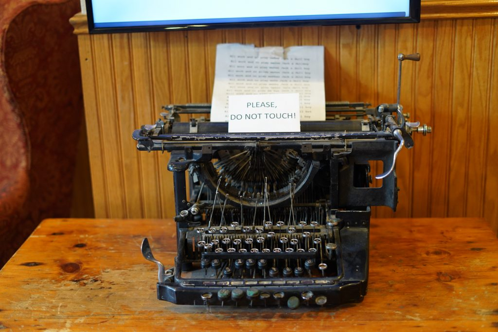 Model typewriter in the Shining hotel.   Stay at Stephen King's The Shining Hotel - Also known as the Stanley Hotel